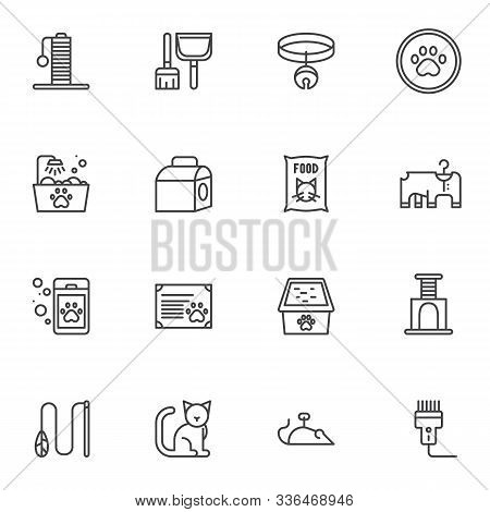 Pet Shop Line Icons Set. Veterinary Accessories Linear Style Symbols Collection, Outline Signs Pack.