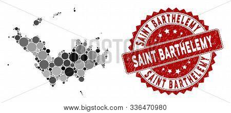 Mosaic Saint Barthelemy Map And Round Seal Stamp. Flat Vector Saint Barthelemy Map Mosaic Of Randomi