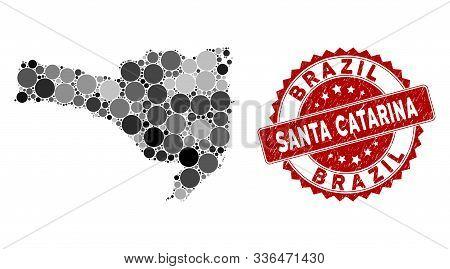 Mosaic Santa Catarina State Map And Round Stamp. Flat Vector Santa Catarina State Map Mosaic Of Rand