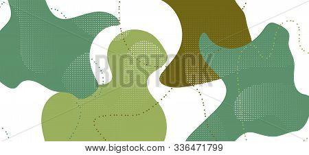 Trendy Camouflage Background. Vector Green Fluid Cover. Graphic Forest Military Ornament. Creative C
