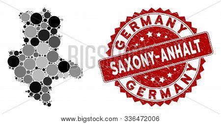 Mosaic Saxony-anhalt Land Map And Round Stamp. Flat Vector Saxony-anhalt Land Map Mosaic Of Random R