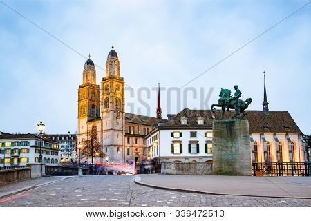 scenic view of historic Zurich city center with famous Grossmunster Churches and river Limmat at Lake Zurich, Canton of Zurich, Switzerland
