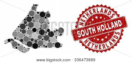 Mosaic South Holland Map And Round Watermark. Flat Vector South Holland Map Mosaic Of Randomized Rou