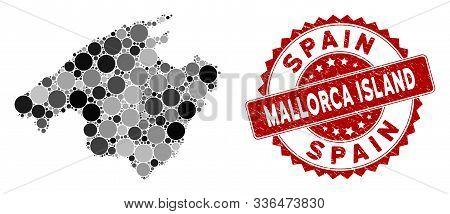 Mosaic Spain Mallorca Island Map And Circle Seal Stamp. Flat Vector Spain Mallorca Island Map Mosaic