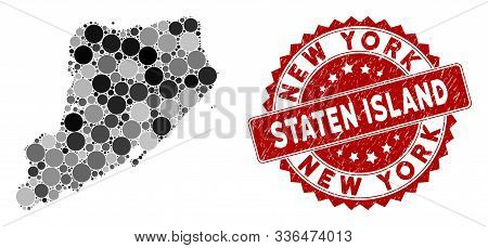 Mosaic Staten Island Map And Round Seal Stamp. Flat Vector Staten Island Map Mosaic Of Scattered Sph