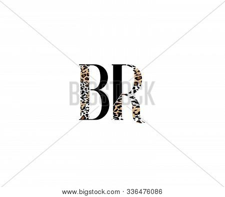 Initial Br Letter With Luxury Leopard Pattern Logotype