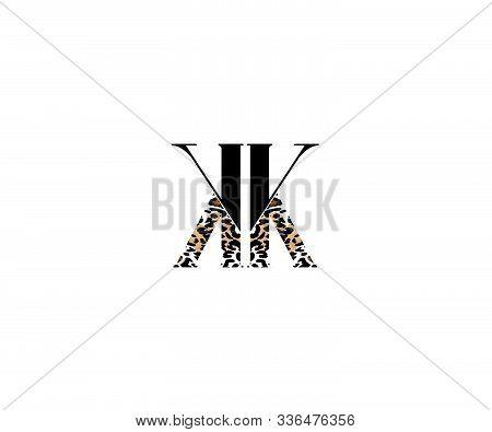 Initial Kk Letter With Luxury Leopard Pattern Logotype