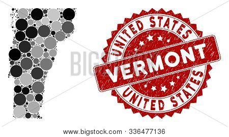 Mosaic Vermont State Map And Circle Stamp. Flat Vector Vermont State Map Mosaic Of Scattered Circle
