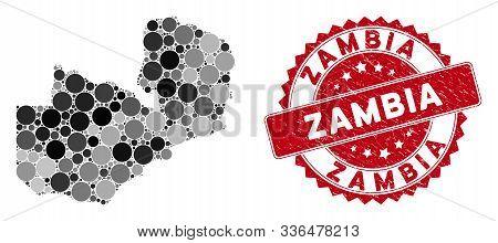 Mosaic Zambia Map And Circle Stamp. Flat Vector Zambia Map Mosaic Of Randomized Circle Items. Red Se