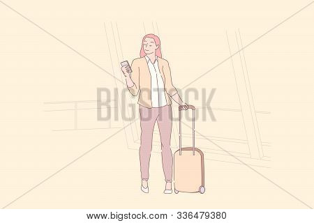 Holiday Trip, Tourism Season, Wanderlust Concept. Young Woman With Suitcase Holding Smartphone, Coll