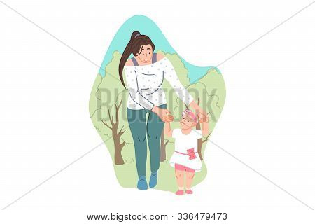 Parental Care And Support, Childcare, Babysitting Concept. Young Mother With Little Daughter On Outd