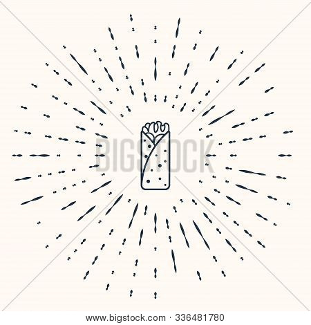 Grey Burrito Icon Isolated On Beige Background. Traditional Mexican Fast Food. Abstract Circle Rando