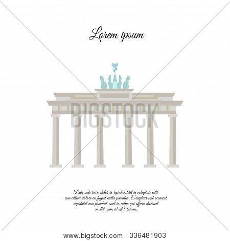 Brandenburg Gate Vector Color. Brandenburg Gate Icon. Brandenburg Gate Sign. Brandenburg Gate Symbol