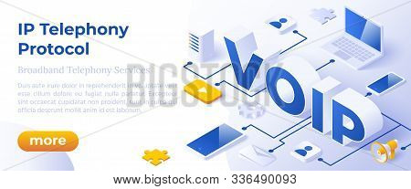 Voip Ip Telephony Services - Isometric Vector Concept Illustration. Voice Over Ip Or Internet Protoc