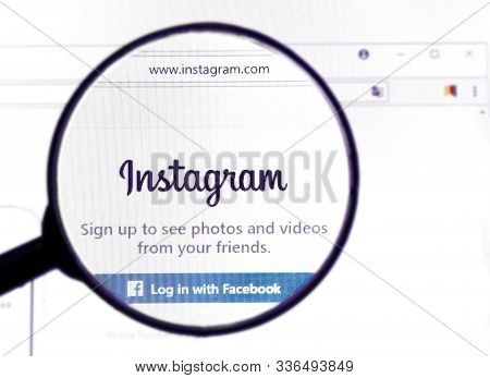 The Logo Of The World And Popular Social Network Instagram On The Screen. Instagram Official Site. I