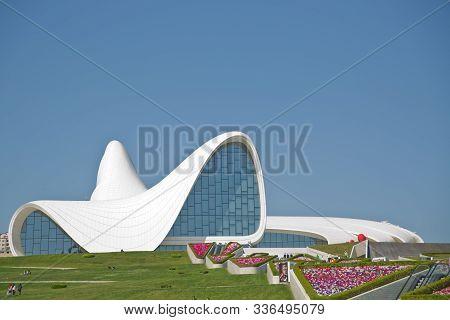 Heydar Aliyev Center, Famous Architectural Landmark Building In Baku By Zaha Hadid. May 2019 . Moder