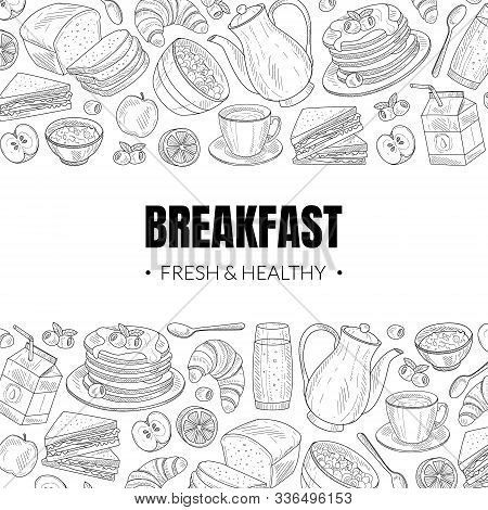 Fresh And Healthy Breakfast And Brunches Top View Vector Card Design
