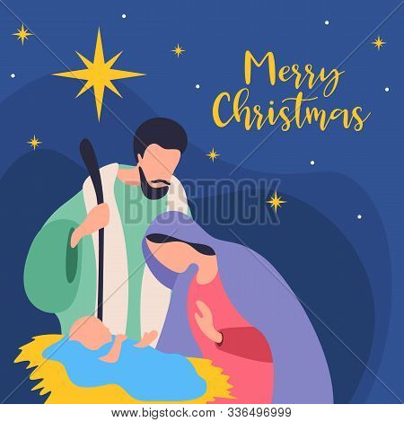 Merry Christmas - Nightly Christmas Scenery Mary And Joseph In A Manger With Baby Jesus In Night Tim