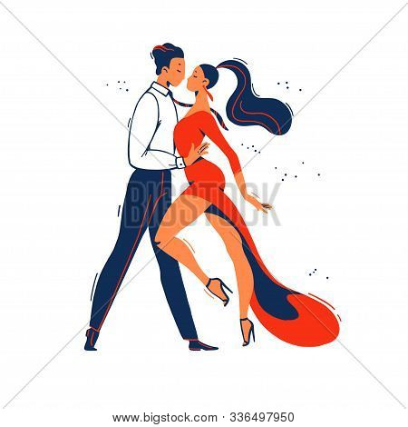 Man And Woman Tango Dancers From Side View Standing Together Isolated On White Background. Flat Cart