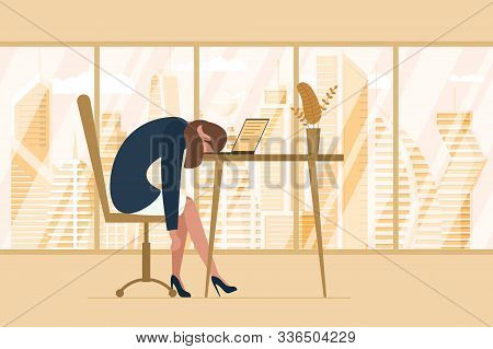 Professional Burnout Syndrome. Exhausted Tired Female Manager In Office Sad Boring Sitting Head Down
