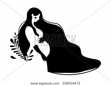 Silhouette Of A Pregnant Woman With Long Hair. Black And White Illustration Of A Girl With A Big Tum