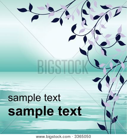 Vector Blue Tone Illustration Of Foliage оN A Background Of The Sea