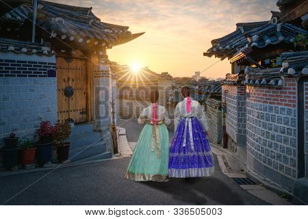 Two Korean Women Wear Hanbok Korea's Tradition Dress To Visit Bukchon Hanok Village In Seoul,  South