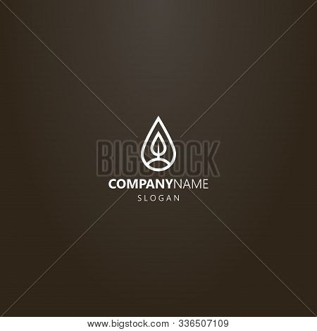 White Logo On A Black Background. Simple Vector Line Art Logo Of A Tree Or Leaf In A Teardrop-shaped