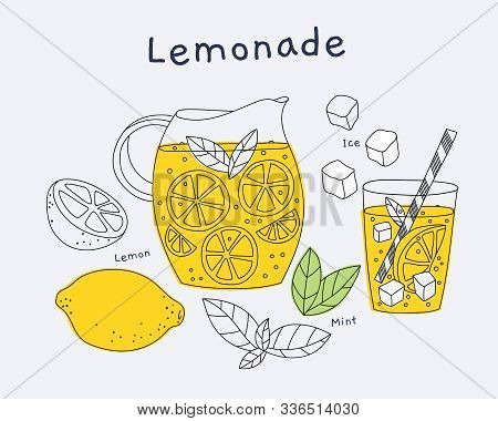 Carafe Filled With Yellow Lemonade And Glass. Ingredients: Lemon, Mint, Ice. Can Be Used To Design R