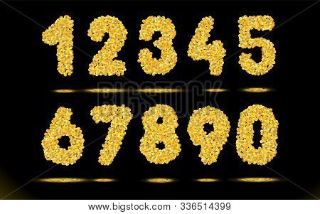 Simply Numbers Set Of Golden Texture Crumbs On Black, Dark Background. Object, Gold Dust Scattering,