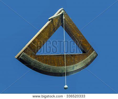 Nautical Quadrant Isolated On Blue Background. Xvi Century.