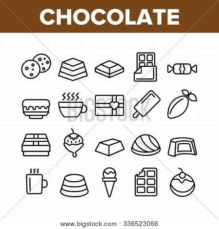 Chocolate Collection Elements Icons Set Vector Thin Line. Chocolate Cookies And Candy, Ice Cream And