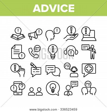 Advice Help Assistant Collection Icons Set Vector Thin Line. Human Silhouette And Call, Internet Onl