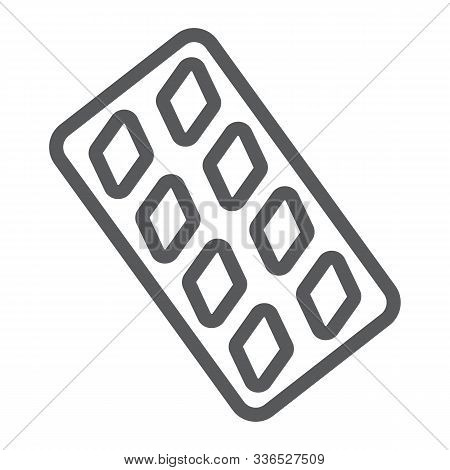 Erection Pills Line Icon, Health And Pharmacy, Drug Sign, Vector Graphics, A Linear Pattern On A Whi