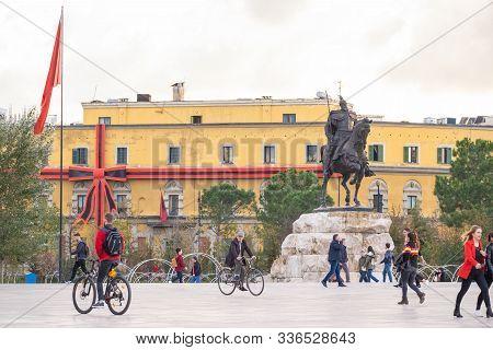 Tirana, Albania. November 2019: Monument To Skanderbeg In Scanderbeg Square In The Center Of Tirana,