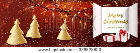 Christmas Advent Calendar Background With Realistic White With Red Ribbon Gift Surprise, Doors Open,
