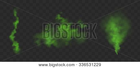 Green Bad Smell. Stink Clouds Of Farting, Smoke Or Stench Gases. Vector Realistic Set Of Chemical To