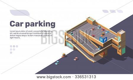 Isometric Multi Level Car Parking With Elevator. Multistory Parking Lot Building With Automobiles On