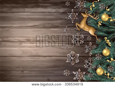 Festive Christmas Background. Merry Christmas And Happy New Year Banner With Fir Tree Branches, Gold