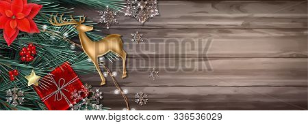 Merry Christmas And Happy New Year Decorative Banner With A Gift, Fir Tree Branches, Golden Deer Fig
