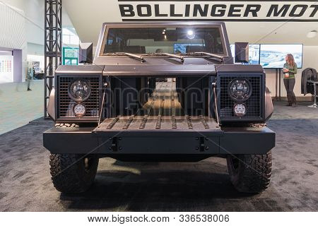 Bollinger B1 Electric Truck On Display During Los Angeles Auto Show.