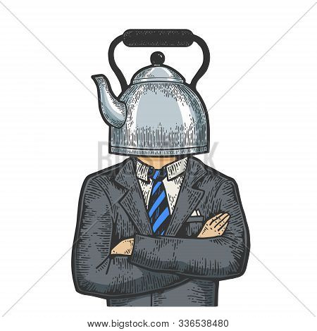 Kettle Pot Head Businessman Sketch Engraving Vector Illustration. T-shirt Apparel Print Design. Scra