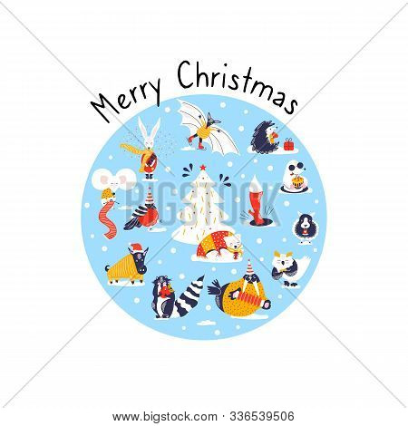 Set Icons Of Cute Animals. Funny Characters Hand Drawn Style For Merry Christmas Card. Raccoon, Boar