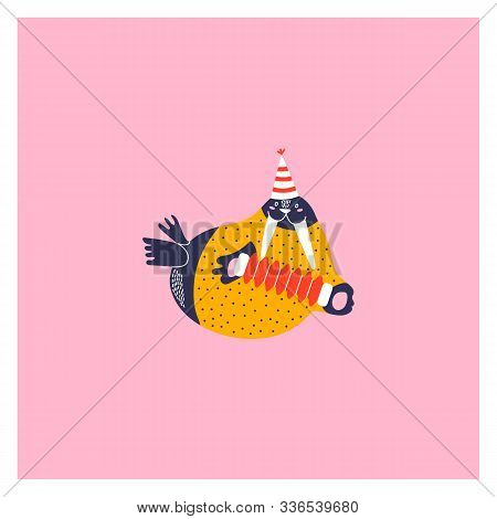 Icon Of Cute Walrus. Character Hand Drawn Style For Happy New Year Card. Funny Animal Playing The Ac