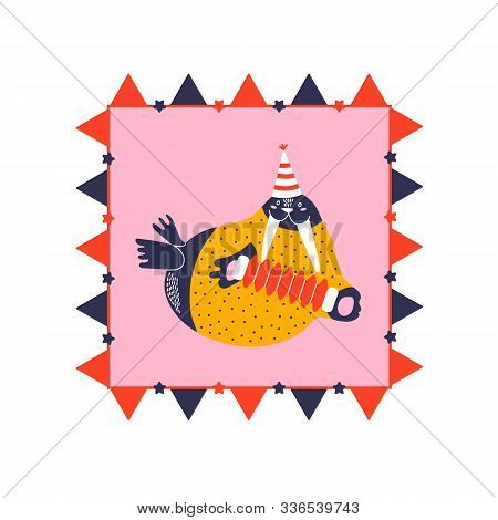 Icon Of Cute Walrus In Frame. Character Hand Drawn Style For Happy New Year Card. Funny Animal Playi