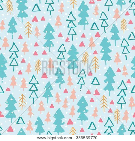 Seamless Pattern With Winter Forest In Colourful Pastel Backdrop. Hand Drawn Style Nature Highlands