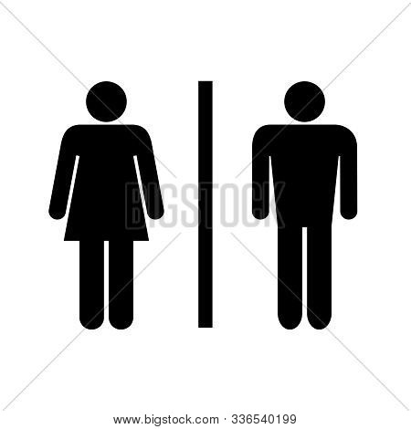 Icon Toilet. Wc Sign Isolated On White Background. Washroom Logo. Abstract Symbols Man And Women. Ve