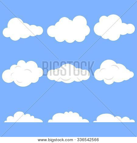 Clouds, Set Of Realistic White Clouds On A Blue Background. Cartoon Clouds.
