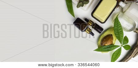 Composition With Shea Butter, Coconut Oil, Soap, Ingredients For Skin Care. All Natural Face And Bod