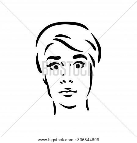 Fright Scary Girl Face Icon On White Background